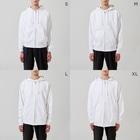 斬る'em ALLの【KJデザイン】MEGALO MANIA-004 #MGLMNA Zip Hoodiesのサイズ別着用イメージ(男性)