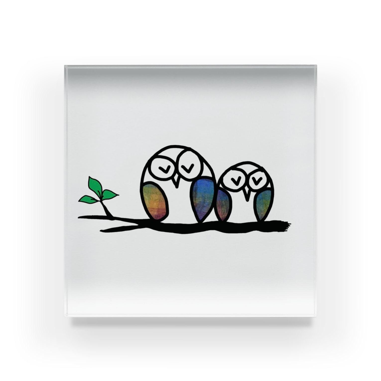 suzuran-rindouのおやすみふくろうくん3 Acrylic Block