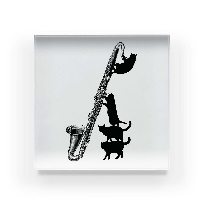 音楽雑貨でぶねこのバスクラリネットと黒猫 Acrylic Block