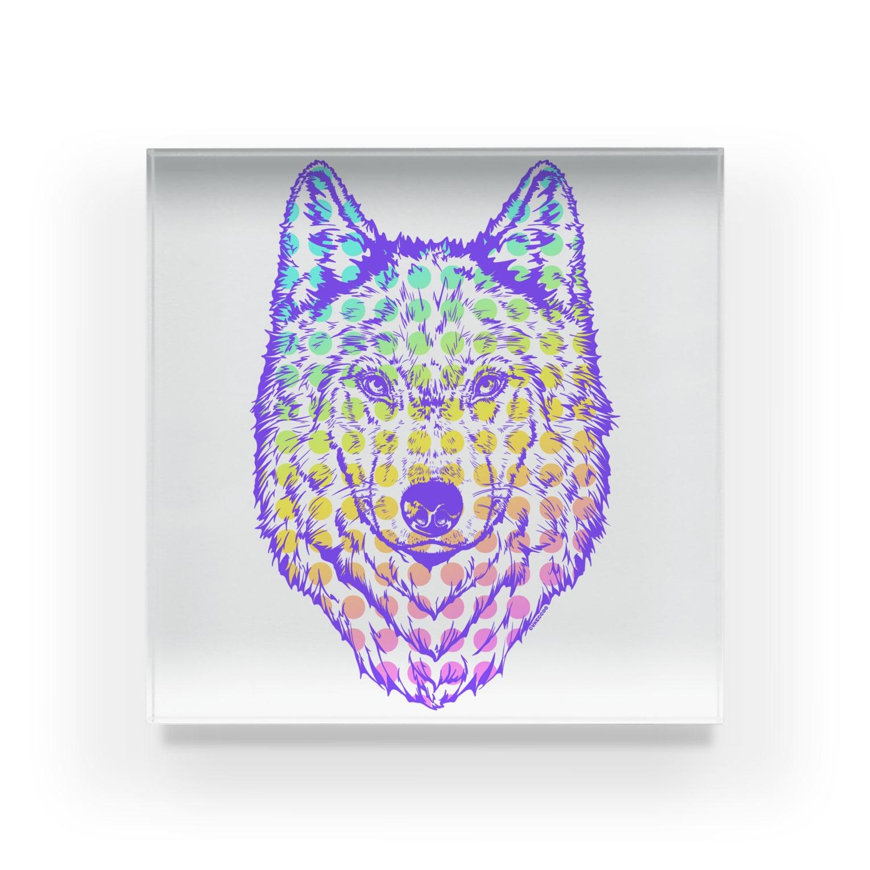 Cɐkeccooの自己主張の強い一匹狼(ウルフフェイス)ブルー Acrylic Block
