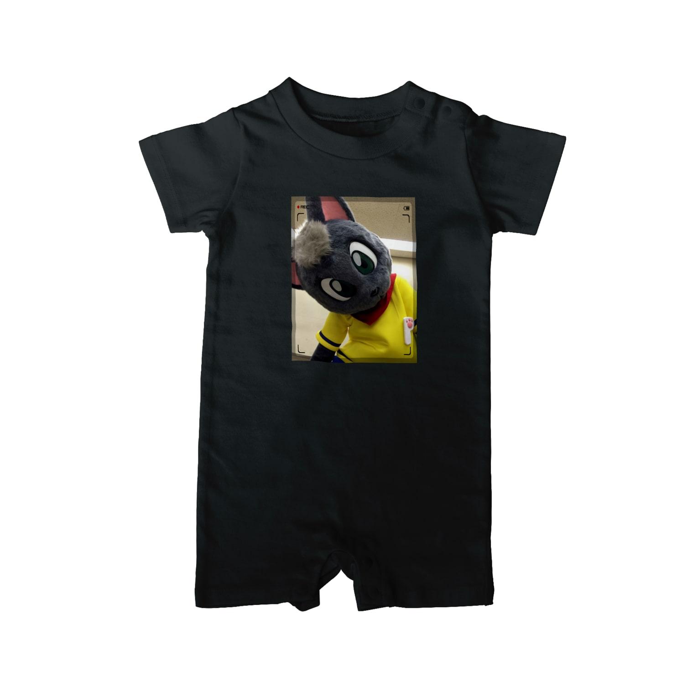 魚の夢CHの黒猫ポピー ベイビーロンパース