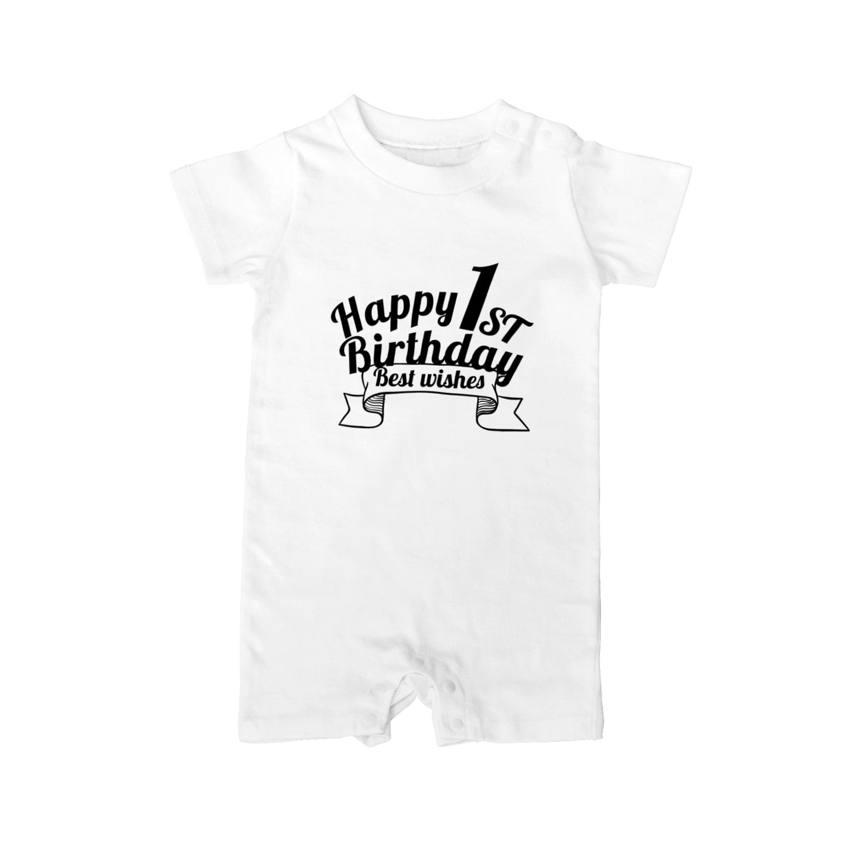 ISLAND BOARSの1st BIRTHDAY black Baby rompers