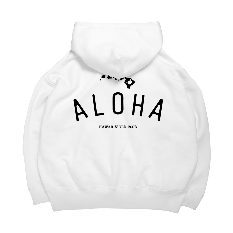 Hawaii Style Clubの〔Back Print〕 ALOHA ISLANDS BLK LOGO Big Hoodies