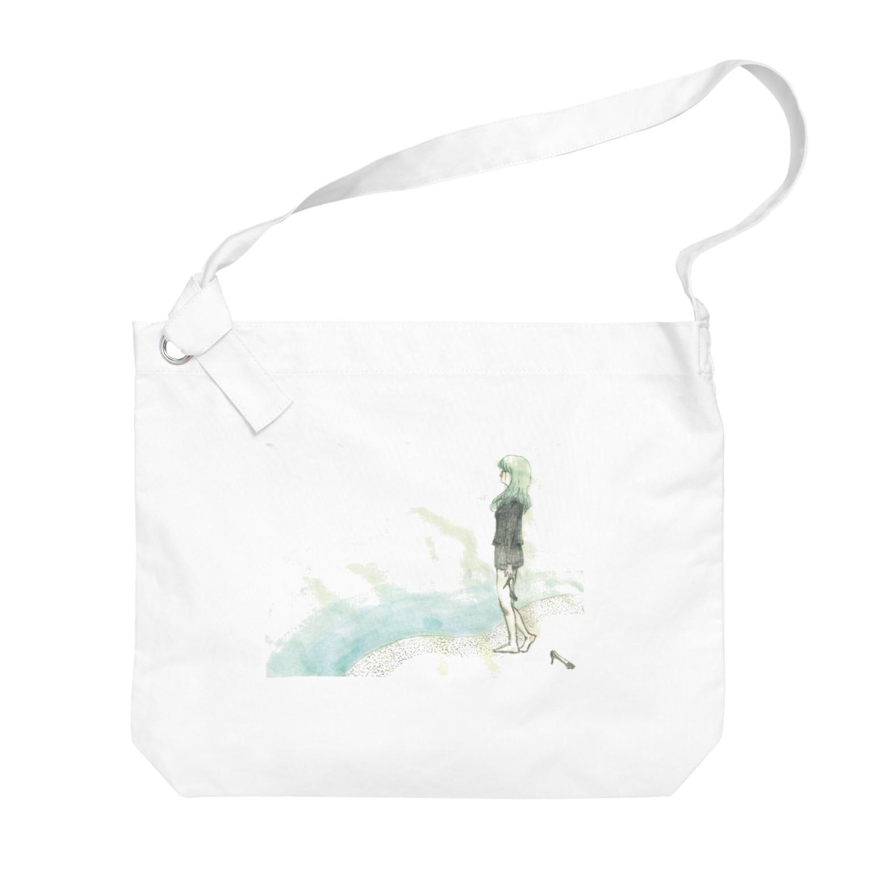 砂まみれのblue Big shoulder bags