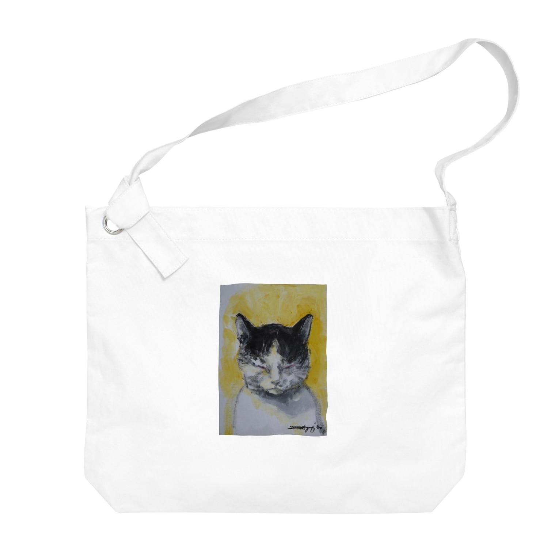 永久凍土の国の白夜の瞑想する猫 Big shoulder bags