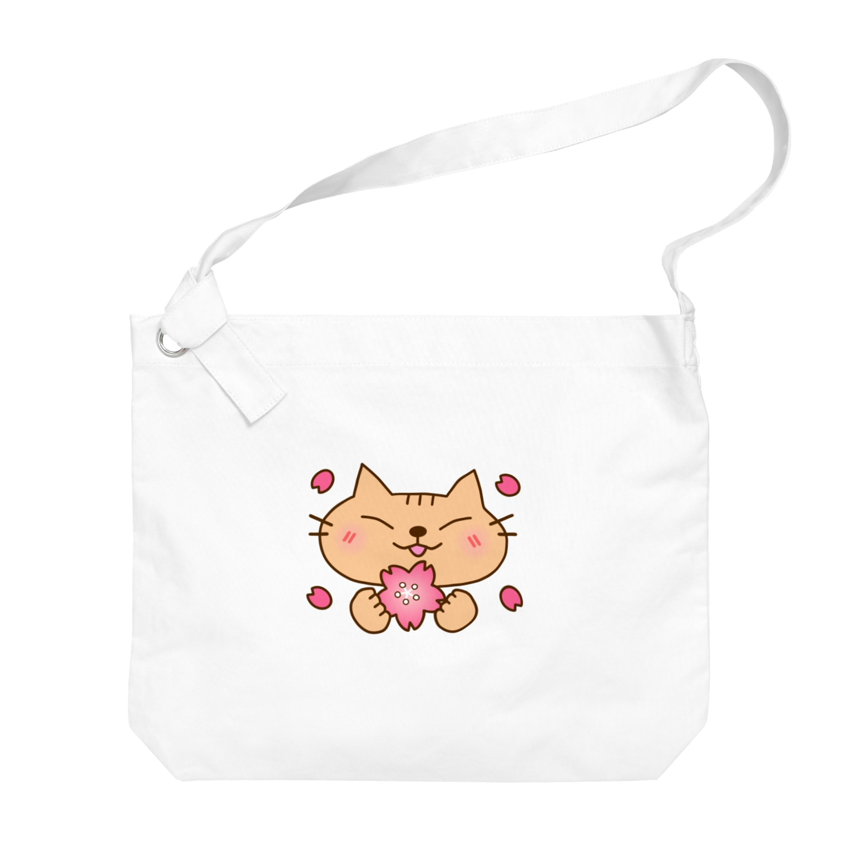 eigoyaの桜と茶トラ猫 Big shoulder bags