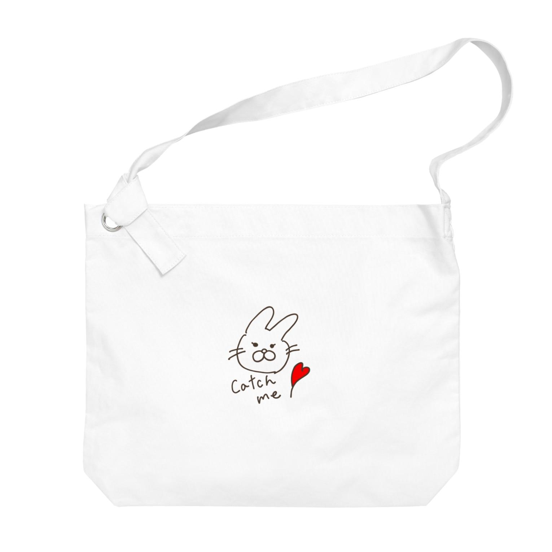 shima_nagashiのCatch meうさぎ Big shoulder bags