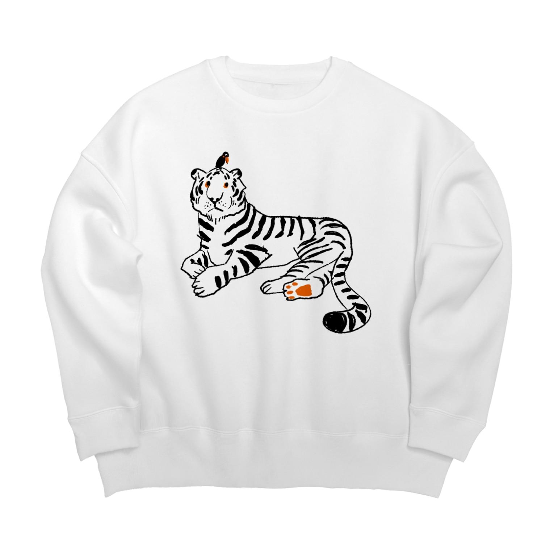 mya-mya=MIYA JUNKO's shop 02の虎と鳥 Big silhouette sweats
