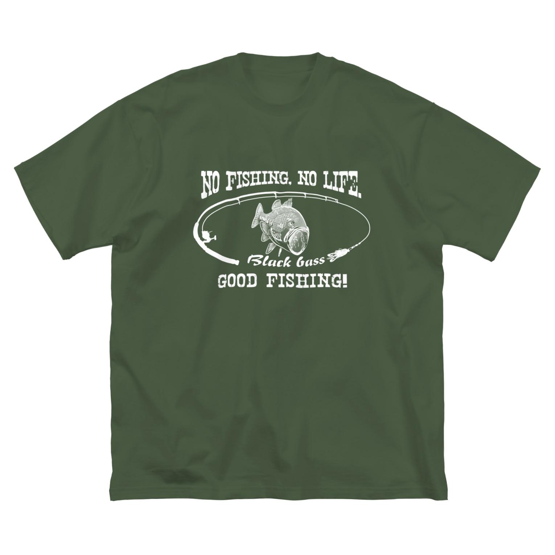 猫と釣り人のブラックバス2_8W Big silhouette T-shirts