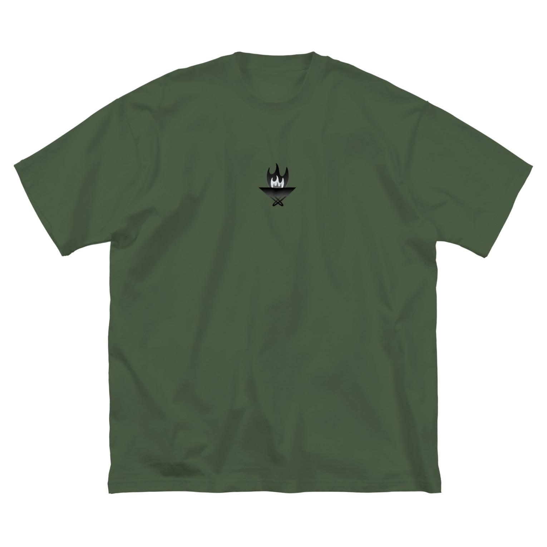 Littleきゃんぷサイトの焚き火台くん Big silhouette T-shirts