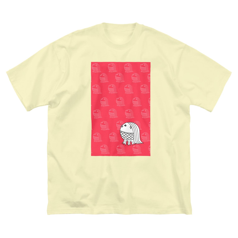 rioka24ki10のアマビエ祈願 ピンク Big silhouette T-shirts