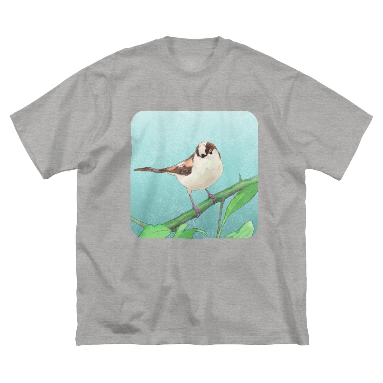 TeaDrop.Cのシマエナガ Big silhouette T-shirts