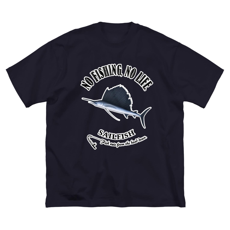 猫と釣り人のBASHOUKAJIKI_6_4C Big silhouette T-shirts