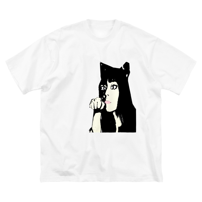 Danke Shoot Coffeeの猫被りの女性 Big silhouette T-shirts