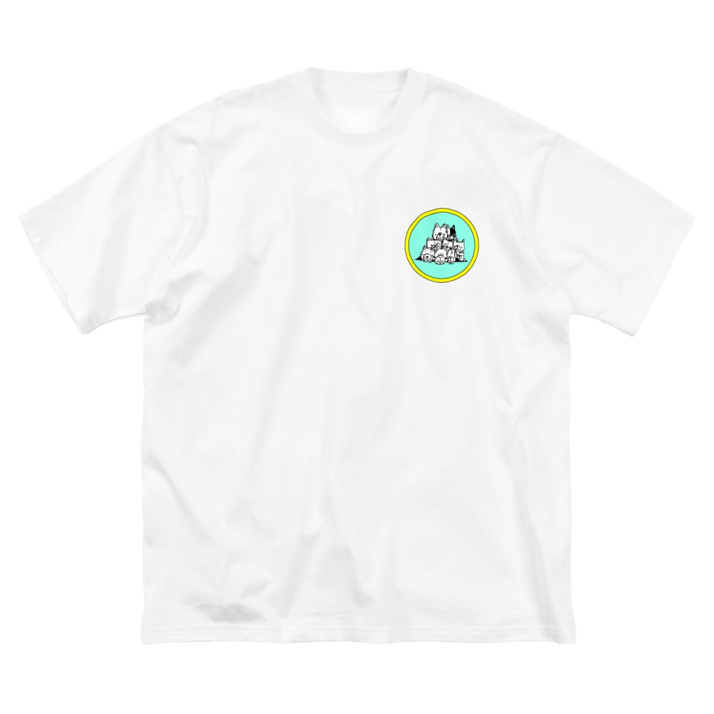 peacefulの重ね犬 Big silhouette T-shirts