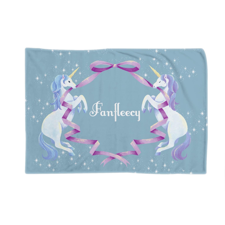 Fanfleecyのunicorn(blue) Blankets
