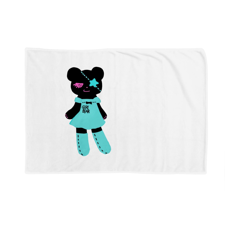 Suzuki Satomi イラストショップの黒クマちゃん Blankets