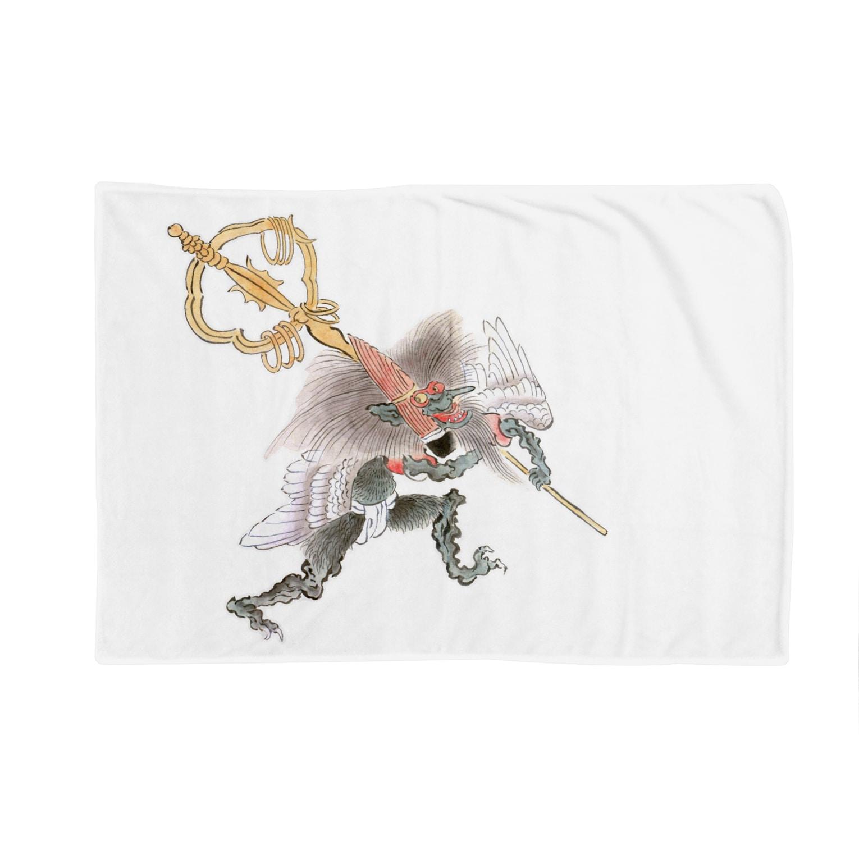 和もの雑貨 玉兎の百鬼夜行絵巻 笙の付喪神【絵巻物・妖怪・かわいい】 Blankets