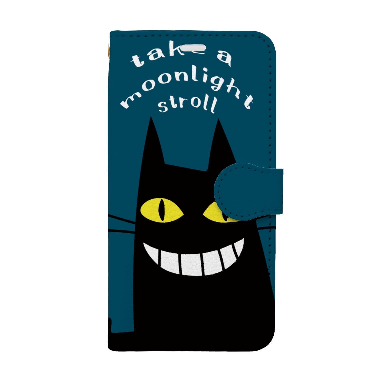 ワカボンドのムーンライトクロネコ Book-style smartphone case