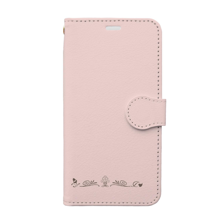 sonoteniのアルファベット イニシャル ボタニカル ピンク Y #153-1 Book-style smartphone case