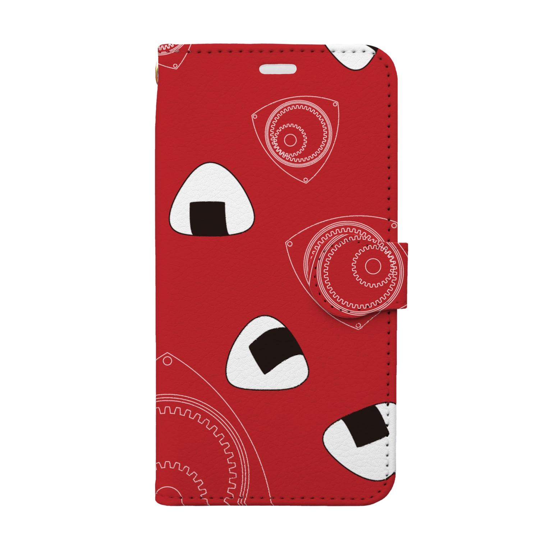 竹脇モータース2号店の回れ焼きおにぎり 赤色 Book-style smartphone case