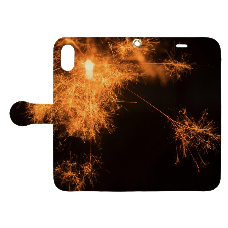 くちくら層の線香花火 Book-style smartphone caseを開いた場合(外側)