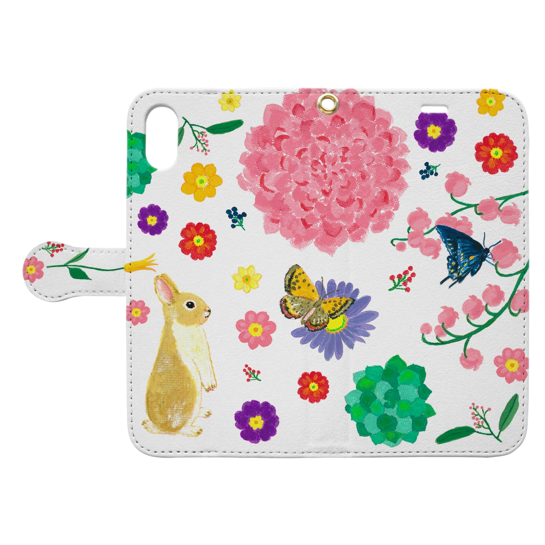yminaminのうさぎのウオレットケース白 Book-style smartphone caseを開いた場合(外側)