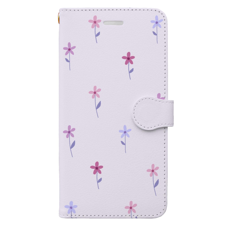 kuroki  miyaの花柄 Book-style smartphone case
