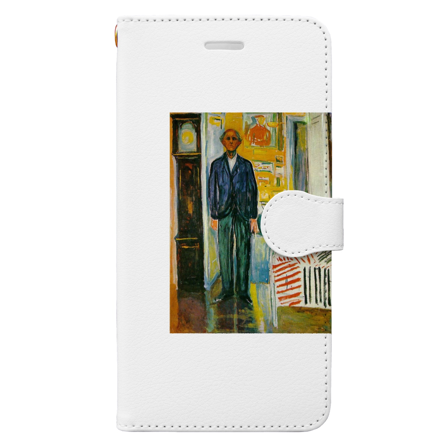 Art Baseのムンク / 1943 / Self-portrait. Between the clock and the bed / Edvard Munch Book-style smartphone case