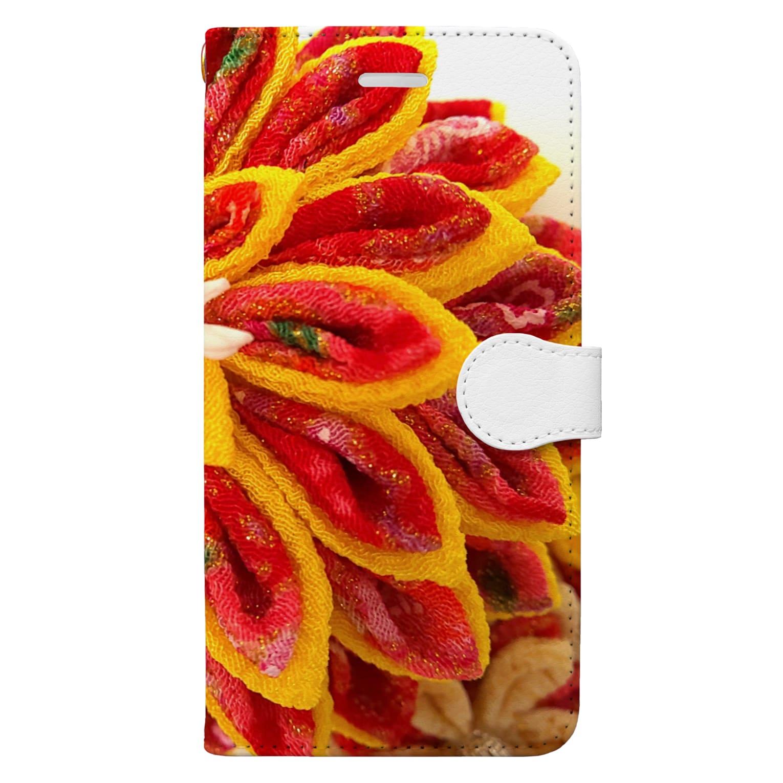 hana_sakiの赤花咲いた Book-style smartphone case