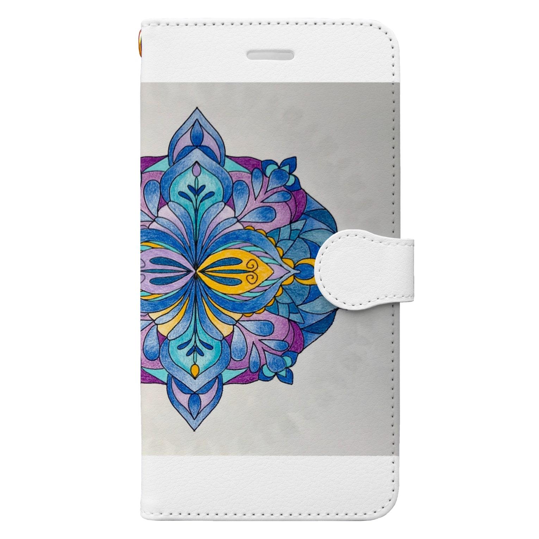 saiko-ruiのマンダラR・BLUE Book-style smartphone case