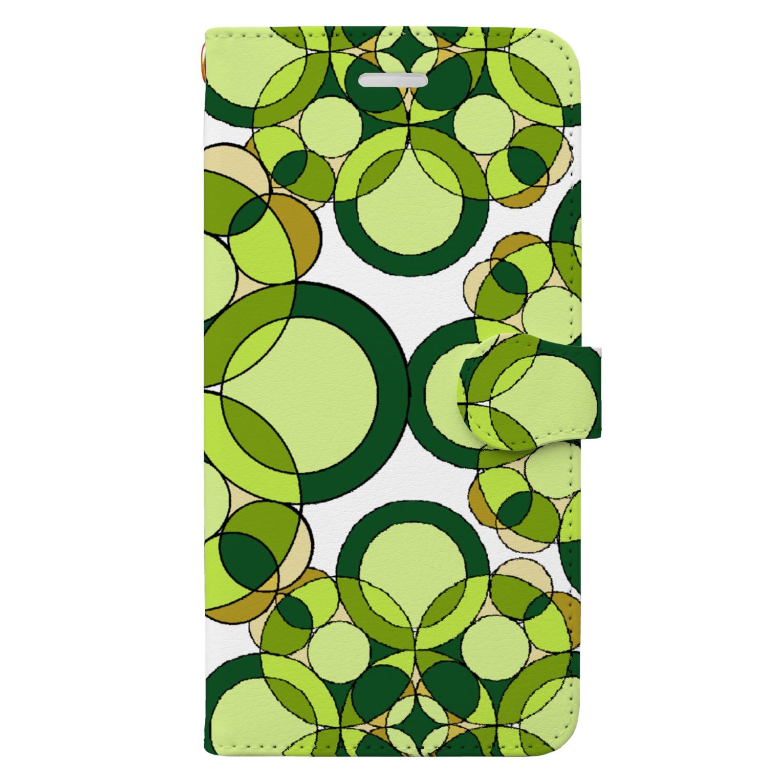 rioka24ki10のグリーン 丸 模様 Book-style smartphone case