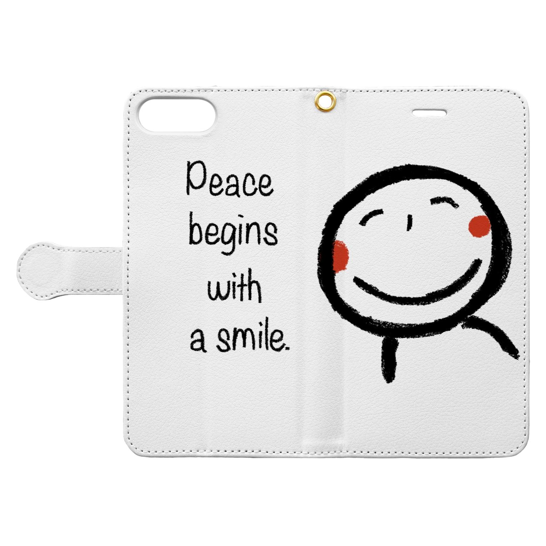rurisapapa の微笑み Book-style smartphone caseを開いた場合(外側)