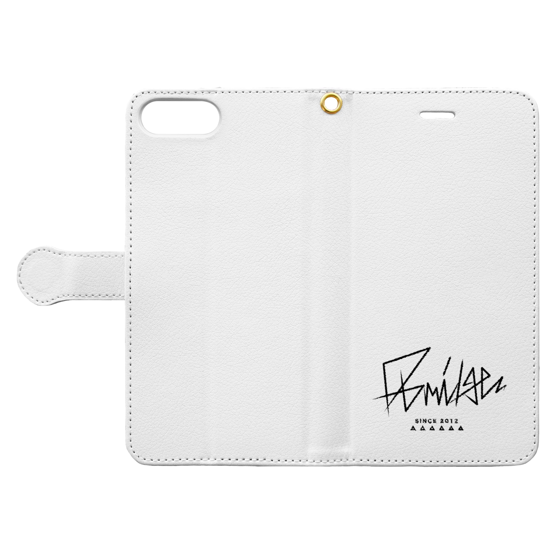D-BRIDGEのDB_white Book-style smartphone caseを開いた場合(外側)