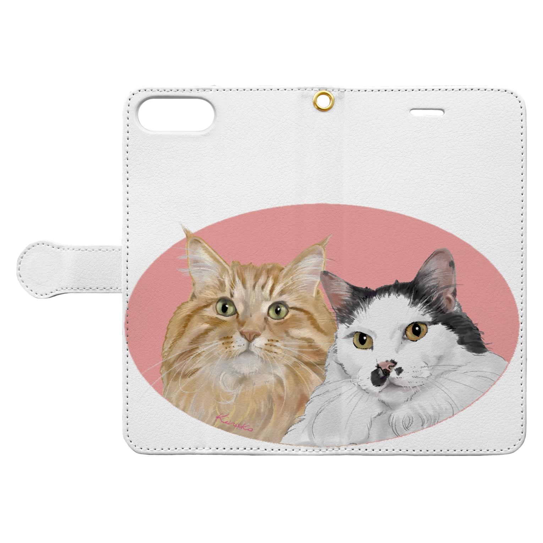 kinako-japanの猫社長さん 猫専務さん ピンク Book-style smartphone caseを開いた場合(外側)