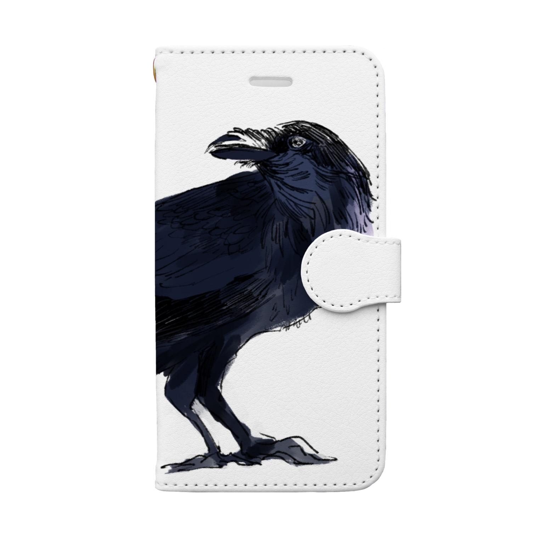 あさこまいの飛ばないカラス Book-style smartphone case