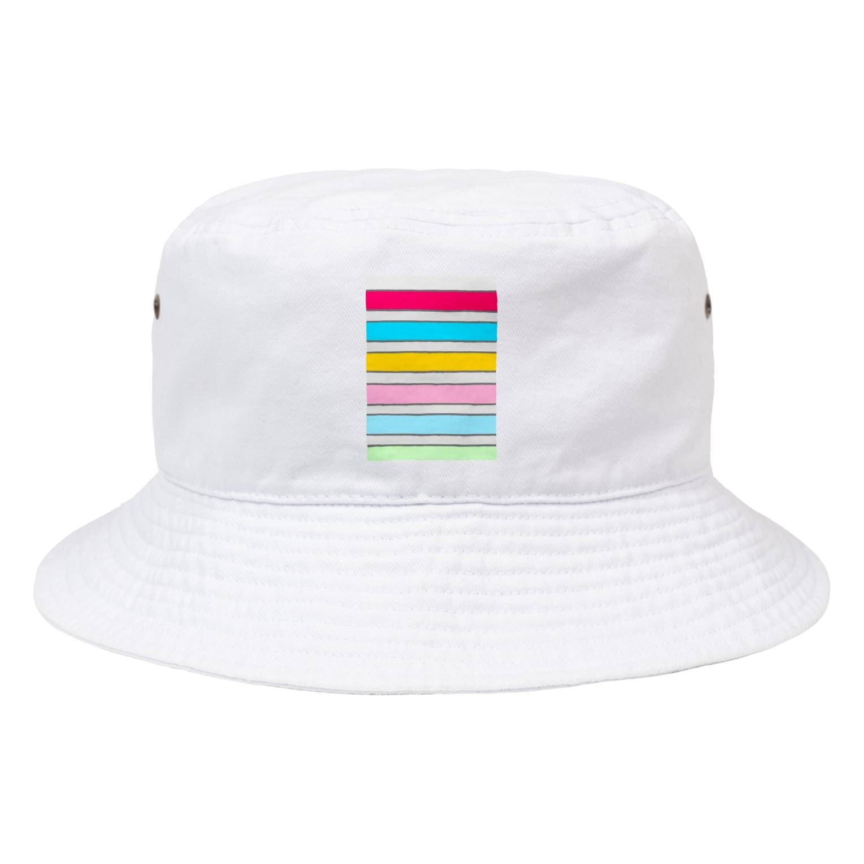 Sorapolice_pinopoliceのストライプ Bucket Hat