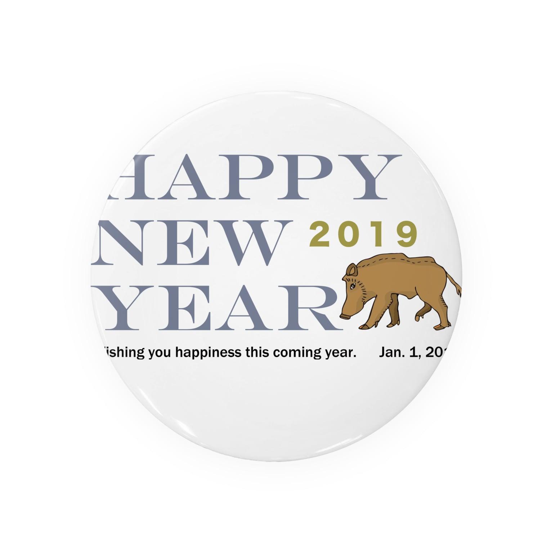 ジルトチッチのデザインボックスの2019亥年の猪のイラスト年賀状イノシシ 缶バッジ