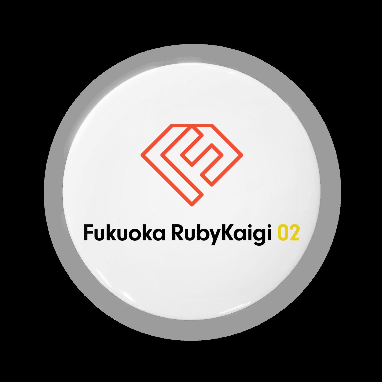 💎福岡Ruby会議02💎の福岡Ruby会議 ロゴ(文字入り)缶バッジ
