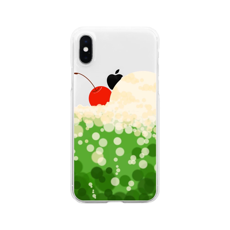 青い春のクリームソーダに溺れる Clear smartphone cases