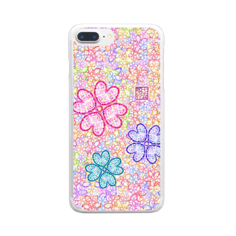 ❀花狐庵❀-HanaKoAn-の「花籠」Series * sakura-jewels blue Clear smartphone cases
