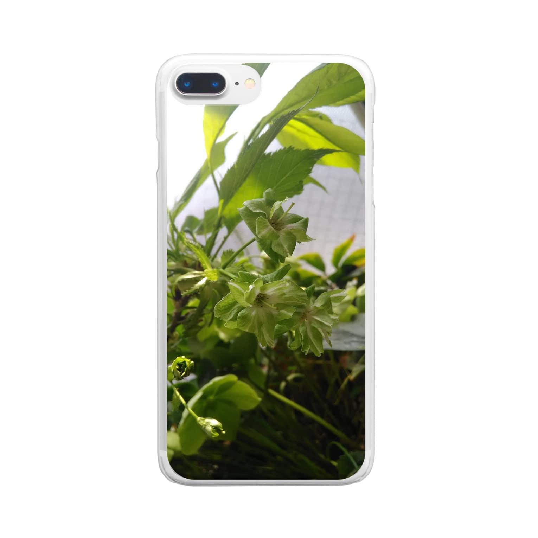 ゆるかふぇおんらいんの御衣黃桜 Clear smartphone cases