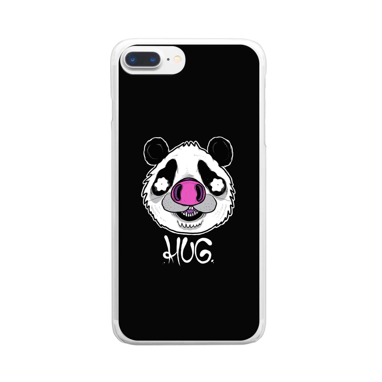 HUGオフォシャルショップのPandrew Black Clear smartphone cases