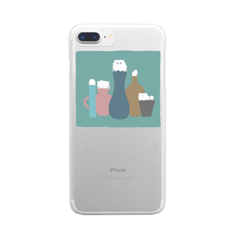 anco.の壺とねこ Clear smartphone cases