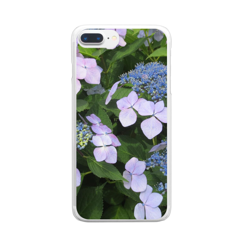 Dreamscapeのハイドランジア模様 Clear smartphone cases