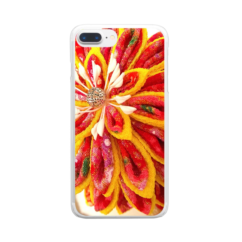 hana_sakiの赤花咲いた Clear smartphone cases