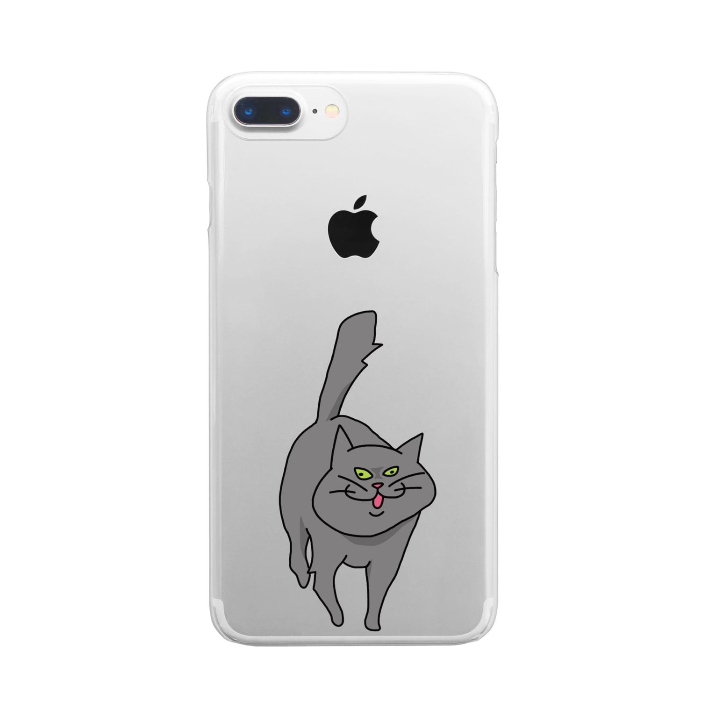yojiyojlのやせいのネコ Clear smartphone cases