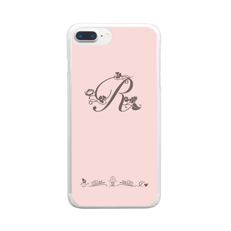 sonoteniのアルファベット イニシャル ボタニカル ピンク R #146 Clear smartphone cases