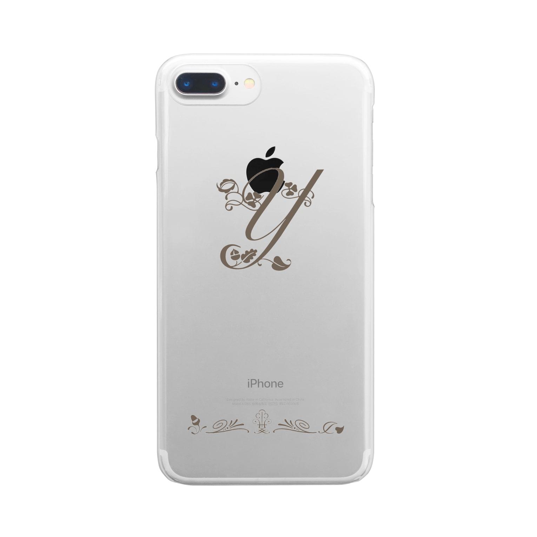 sonoteniのアルファベット イニシャル ボタニカル Y #153-1 Clear smartphone cases