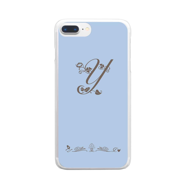 sonoteniのアルファベット イニシャル ボタニカル ブルー Y #178 Clear smartphone cases